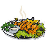 Salmon kebab stock illustration