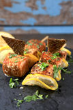 Salmon Kebab condimentado Foto de archivo