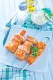 Salmon kebab Royalty Free Stock Image