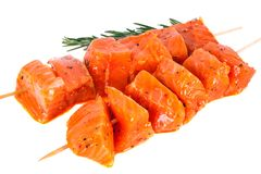 Salmon kebab Stock Photos