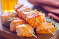 Salmon kebab Stock Photography