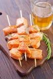 Salmon kebab Stock Photos