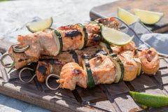 Salmon kebab with zucchini Stock Photo