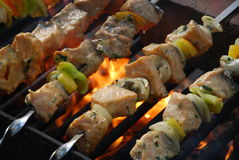 Salmon kebabs Royalty Free Stock Images