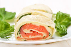 Salmon lavash rolls with cheese and herbs Stock Photography