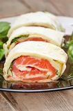 Salmon lavash rolls with cheese and herbs Stock Image