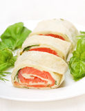 Salmon lavash rolls with cheese and herbs Royalty Free Stock Photo