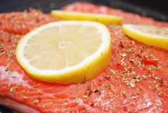 Salmon with lemon stock image