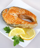 Salmon with lemon Stock Photo