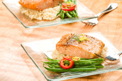 Salmon with Lemon Couscous Stock Photography