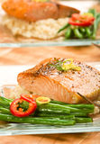 Salmon with Lemon Couscous Stock Images