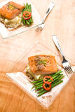 Salmon with Lemon Couscous Royalty Free Stock Photos
