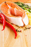 Salmon with lemon. And pepper Stock Photography
