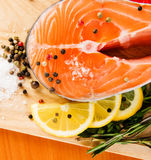 Salmon. With lemon and pepper Royalty Free Stock Image