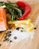 Salmon with lemon, pepper Royalty Free Stock Image