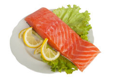 Salmon with lemon on salad leaves Stock Photography