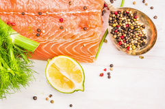 Salmon with lemon and spices on white wooden background Royalty Free Stock Photography
