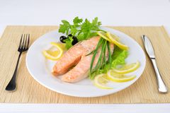 Salmon with lemon Stock Photography