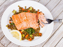 Salmon with Lentils and Arugula. Royalty Free Stock Photo