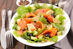 Salmon and lettuce stock images