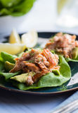 Salmon Lettuce Cup Stock Photography