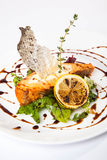 Salmon on lettuce with lemon. And sauce Stock Image