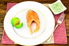 Salmon with Lime Diet Food Royalty Free Stock Images