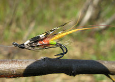 Salmon lure. Salmon fly - top lure for salmon fly fishing Royalty Free Stock Photo