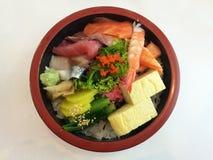 Salmon maguro japanese seaweed donburi with rice Royalty Free Stock Image