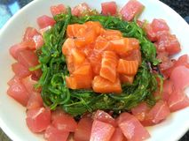 Salmon maguro japanese seaweed donburi with rice Royalty Free Stock Photography