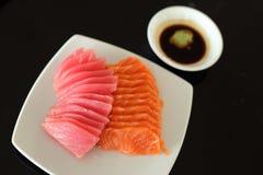 Salmon and maguro sashimi on white dish Stock Photo