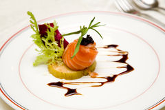 Salmon main dish stock image