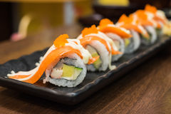 Salmon maki in japanese restaurant Royalty Free Stock Images