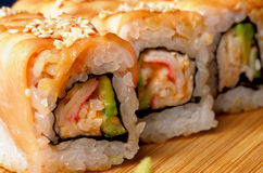 Salmon Maki Roll Stock Photo