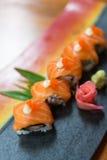 Salmon maki roll sliced Stock Photography