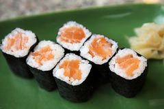 Salmon Maki sushi. On a plate royalty free stock photography