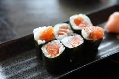 Salmon Maki sushi, Japanese food. Salmon Maki sushi in close up stock photo