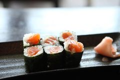 Salmon Maki sushi, Japanese food. Salmon Maki sushi in close up stock photos