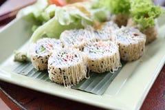 Salmon Maki sushi, Japanese food. Salmon Maki sushi in close up stock images