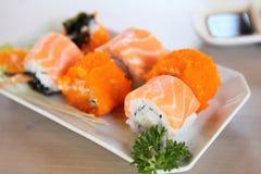 Salmon Maki sushi, Japanese food. Salmon Maki sushi in close up stock image