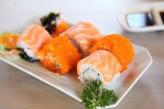 Salmon Maki sushi, Japanese food. Salmon Maki sushi in close up royalty free stock photos