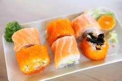 Salmon Maki sushi, Japanese food. Salmon Maki sushi in close up stock photography