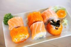 Salmon Maki sushi, Japanese food. Salmon Maki sushi in close up royalty free stock image