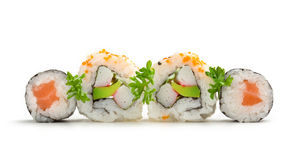 Salmon maki sushi and california rolls Royalty Free Stock Images