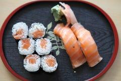 Salmon Maki sushi, Japanese food. Salmon Maki sushi set, Japanese food stock images
