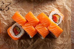 Salmon Maki Sushi Roll Royalty Free Stock Photos