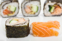 Salmon and Maki Sushi Royalty Free Stock Images