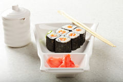 Salmon maki sushi Royalty Free Stock Photo