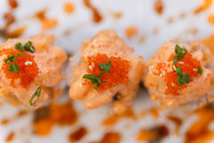 Salmon Maki Topping with Salmon Tatare and Ebiko Stock Images