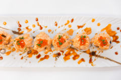 Salmon Maki Topping with Salmon Tatare and Ebiko Royalty Free Stock Photos